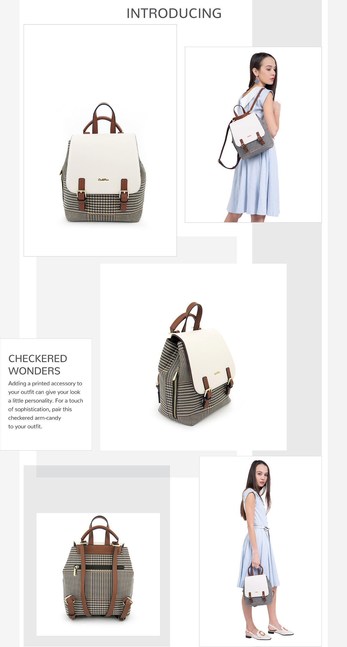 0304488C 004 21 - Oxford Houndstooth Print Backpack