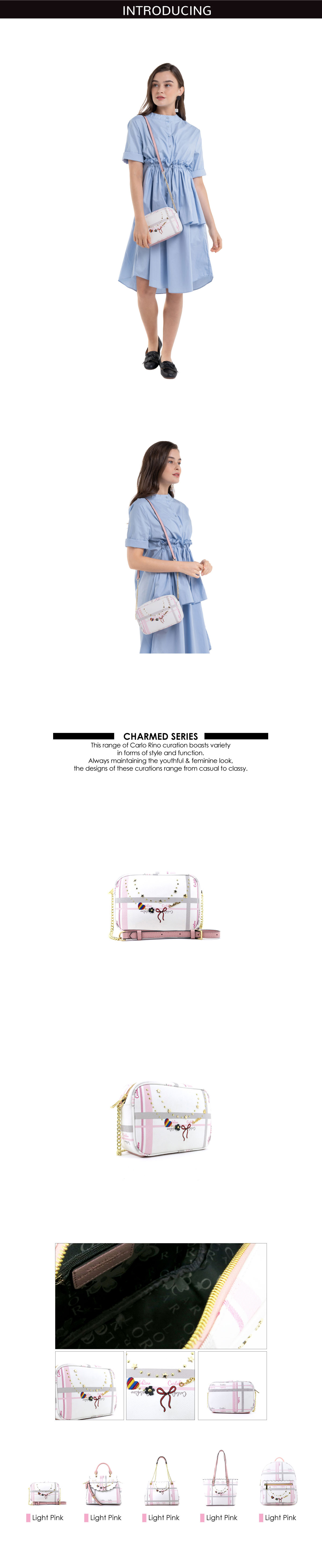 0304740E 001 34 - Embroidered Charmed Series Top Zip Cross Body