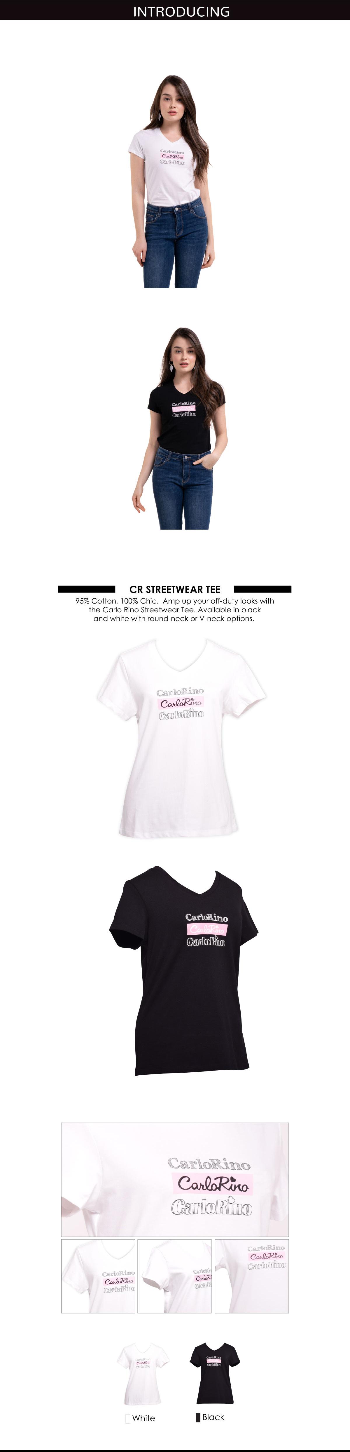 31T001 F001 - V-neck CR Print Tee