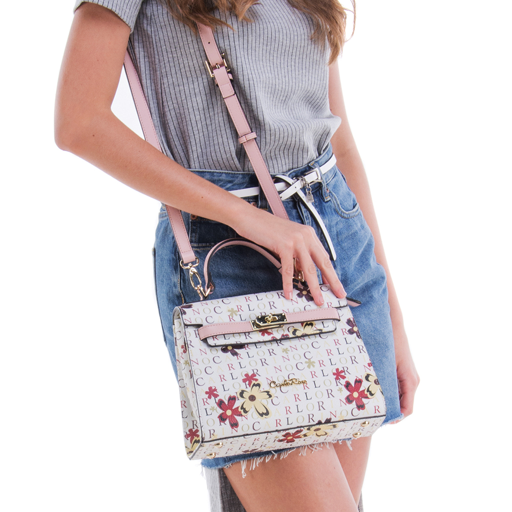 0304617D 004 24 - Signature Print Strapped-flap Top Handle