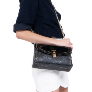 0304651D 001 08 - Studded Dual-surfaced Shoulder Bag with Mock Lock