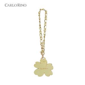 Gold Gem Encrusted Flower Bag Charm