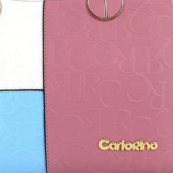 carlorino bag 0303785 003 00 6 - Large Colour-block Monogrammed Top Handle