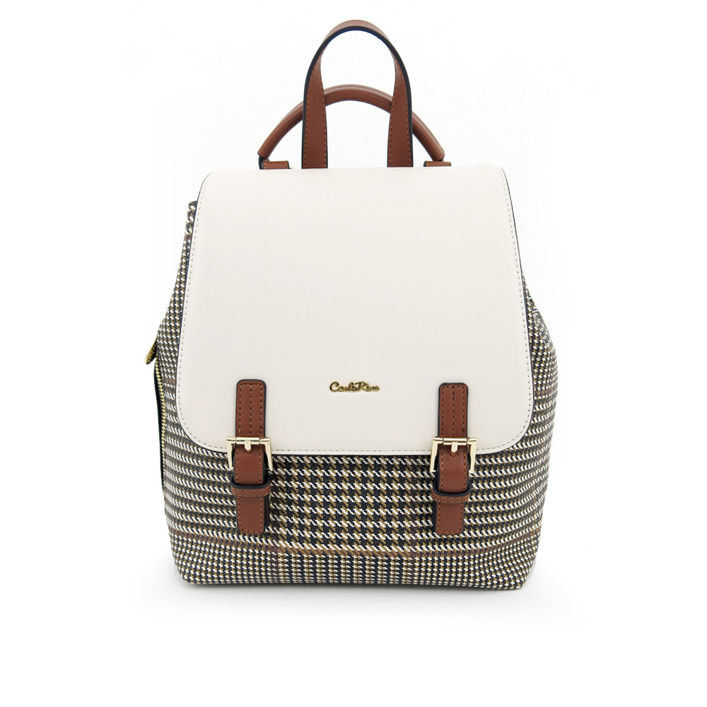 carlorino bag 0304488C 004 21 1 - Oxford Houndstooth Print Backpack
