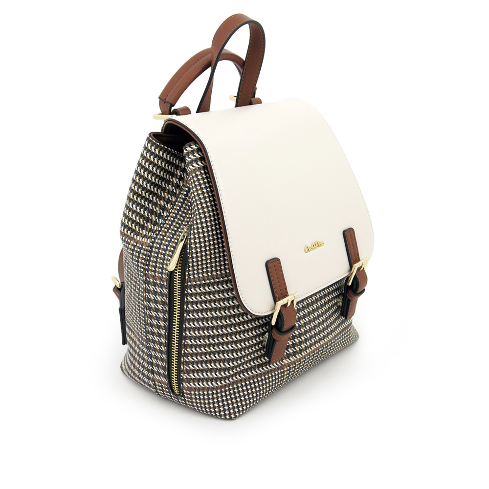 carlorino bag 0304488C 004 21 3 - Oxford Houndstooth Print Backpack