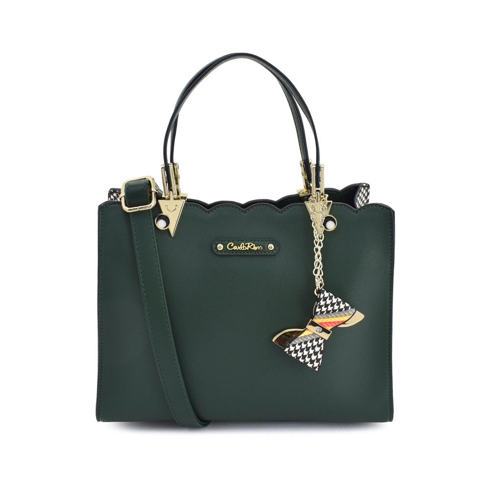 carlorino bag 0304499C 001 16 1 - Houndstooth Printed Sides Top Handle