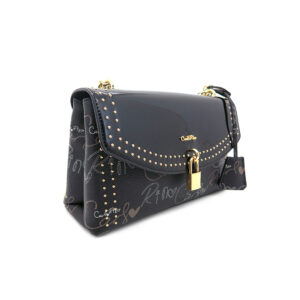 carlorino bag 0304651D 001 08 3 - Studded Dual-surfaced Shoulder Bag with Mock Lock