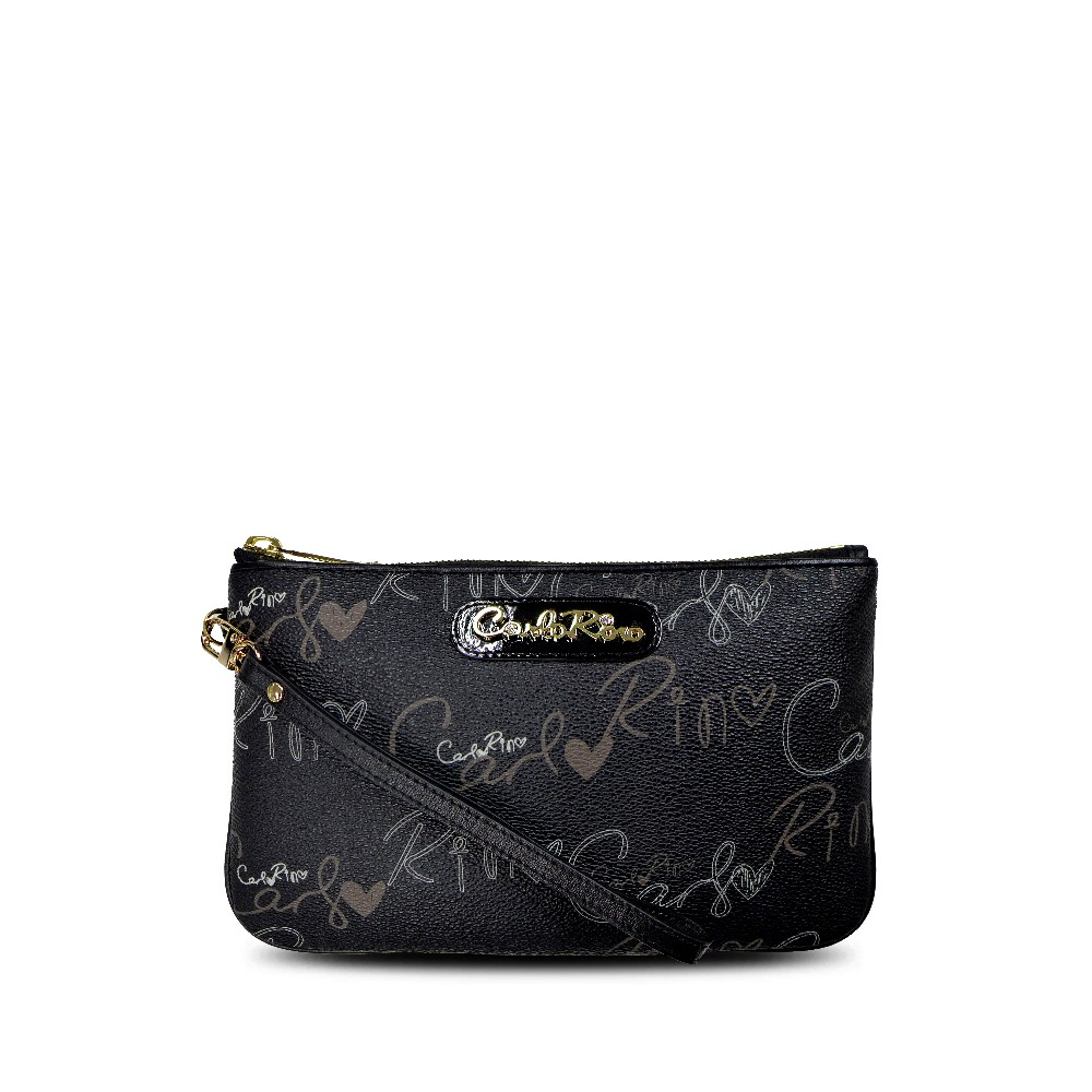 carlorino wallet 0303059 701 08 1 - Calligraphy Monogram Top Zip Wristlet