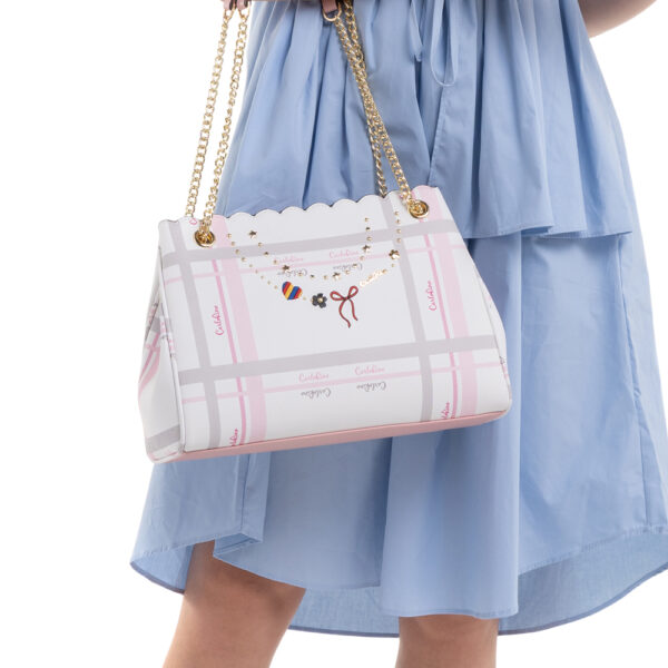 0304740E 003 34 - Embroidered Charmed Series Chain Link Shoulder Bag