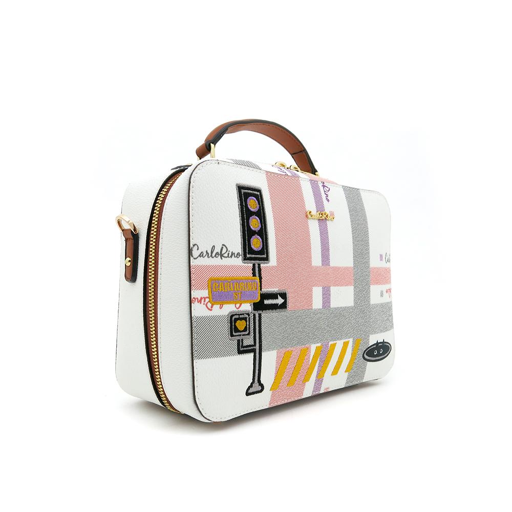 carlorino bag 0304756G 001 05 3 - Gratifying Graphic Boxy Top Handle