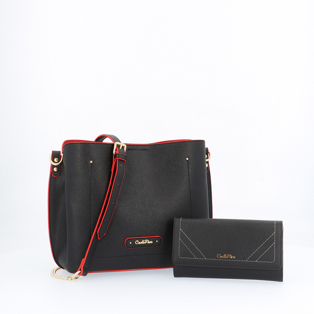 carlorino bag 0303355 016 08 1 - Smooth Carrier 2-in-1 Bag and Wallet Set