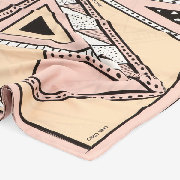carlorino scarf 31S01 G001 24 3 - All About Angles Geometric Long Satin Chiffon Scarf