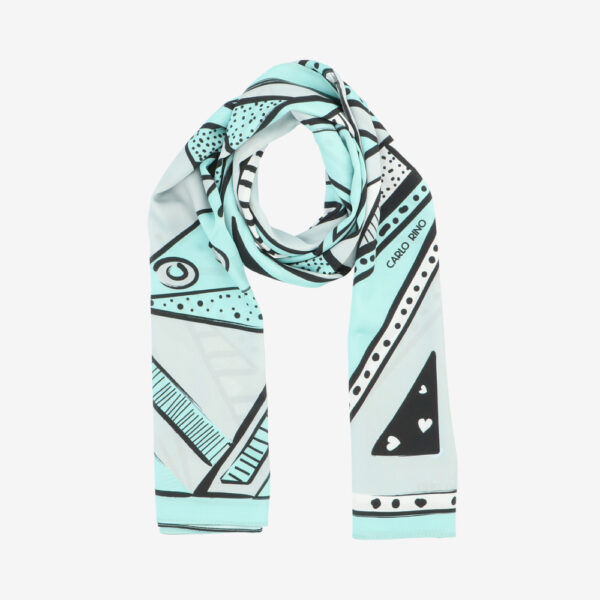 carlorino scarf 31S01 G001 26 1 - All About Angles Geometric Long Satin Chiffon Scarf