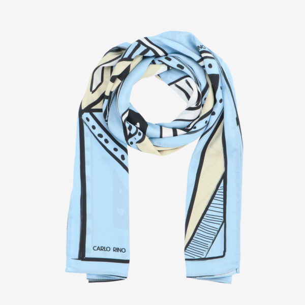 carlorino scarf 31S01 G001 33 1 - All About Angles Geometric Long Satin Chiffon Scarf