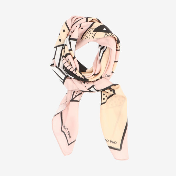 carlorino scarf 31S01 G002 24 1 600x600 - All About Angles Geometric Square Satin Chiffon Scarf
