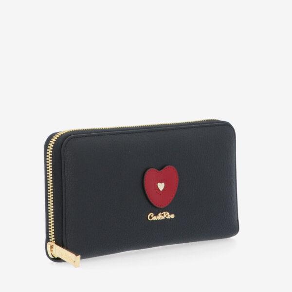carlorino wallet 0304794H 503 08 3 - Queen of Hearts Zip-around Wallet
