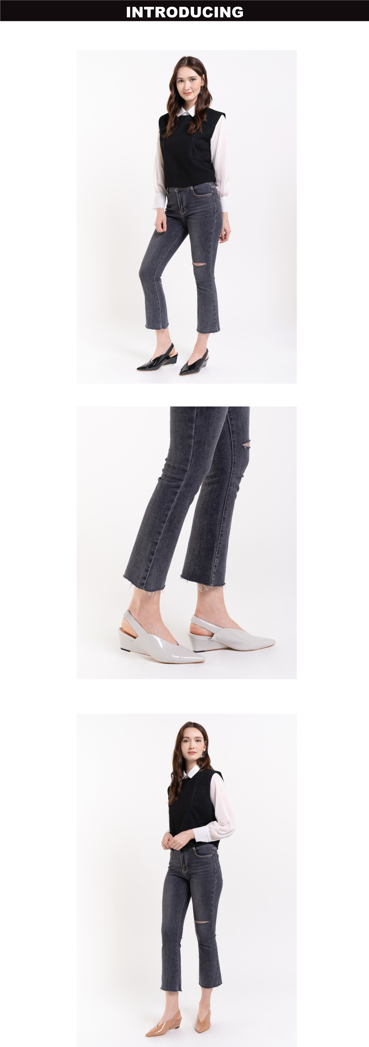 "33310 J005 1 - 2"" Glossy Sandy Slingback Heels"