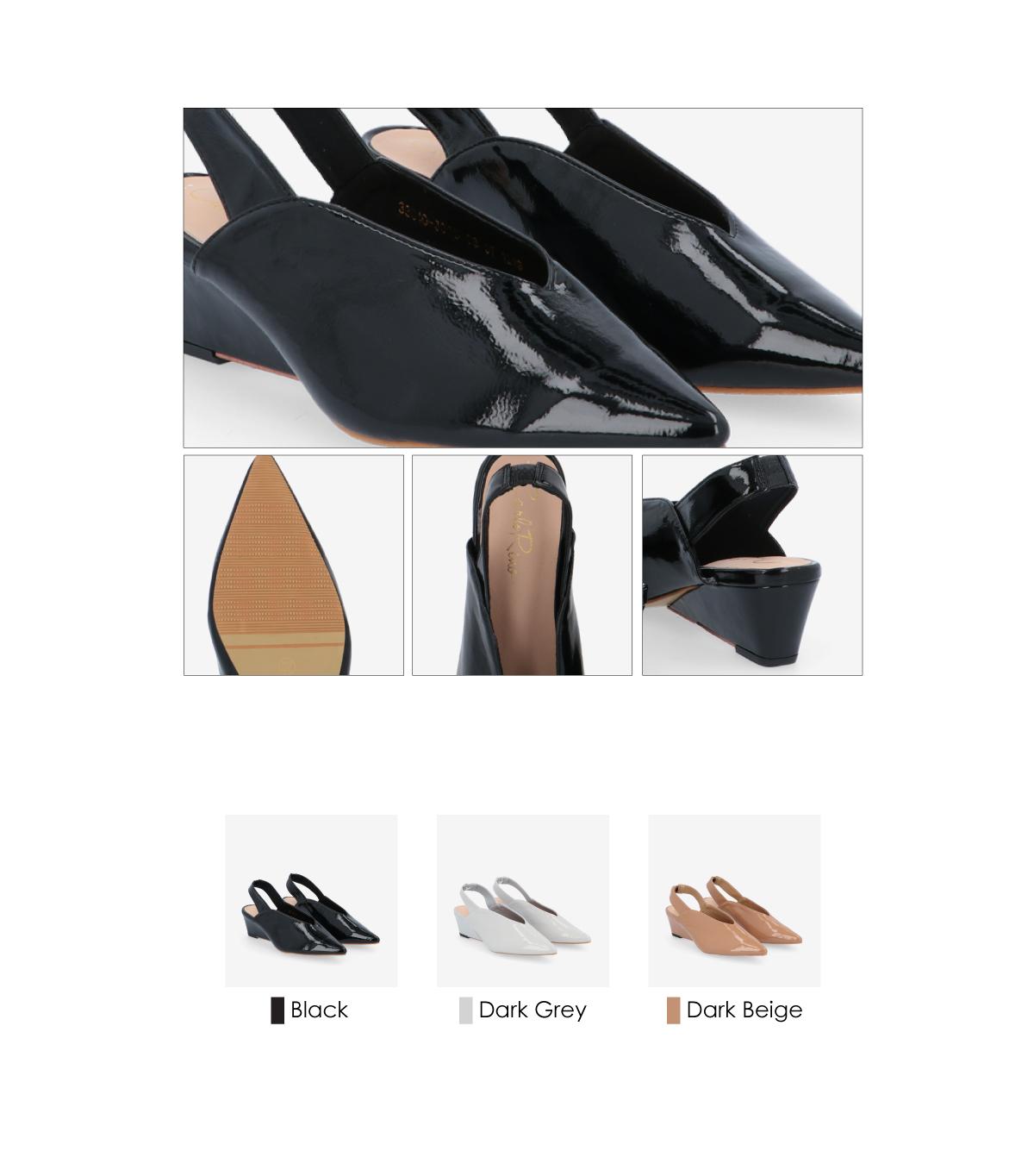 "33310 J005 3 - 2"" Glossy Sandy Slingback Heels"