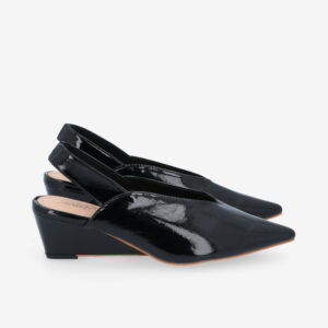 "carlorino shoe 33310 J005 08 2 - 2"" Glossy Sandy Slingback Heels"