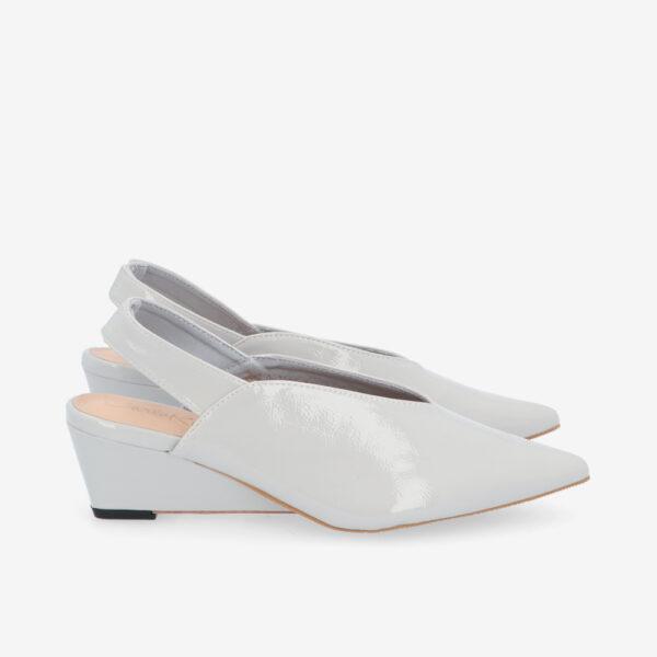 "carlorino shoe 33310 J005 28 2 - 2"" Glossy Sandy Slingback Heels"