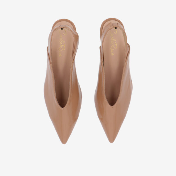 "carlorino shoe 33310 J005 31 3 - 2"" Glossy Sandy Slingback Heels"