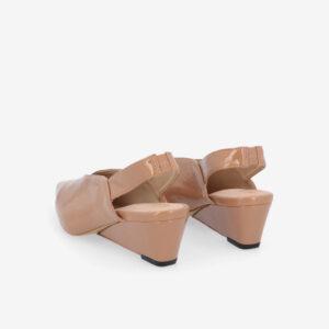 "carlorino shoe 33310 J005 31 4 - 2"" Glossy Sandy Slingback Heels"