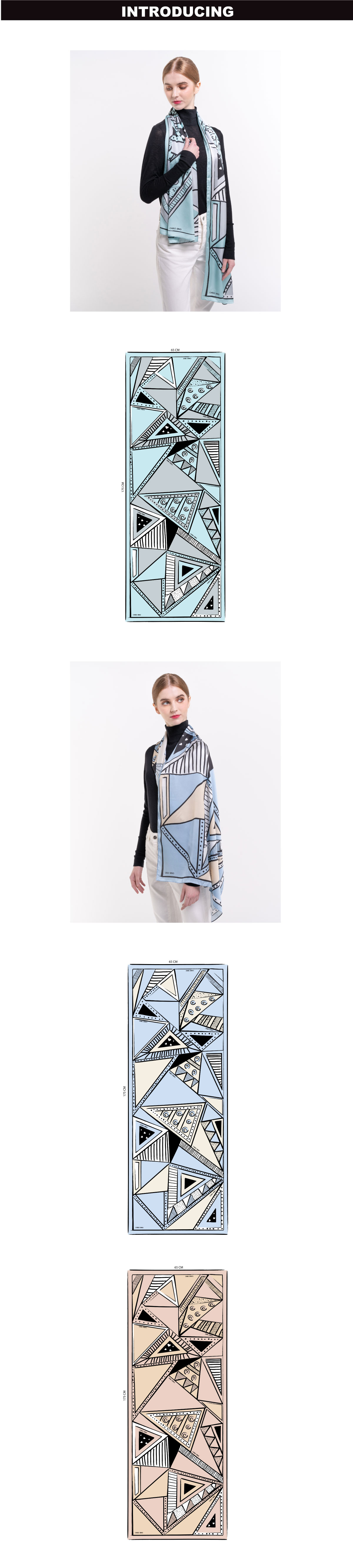 31S01 G001 1 - All About Angles Geometric Long Satin Chiffon Scarf