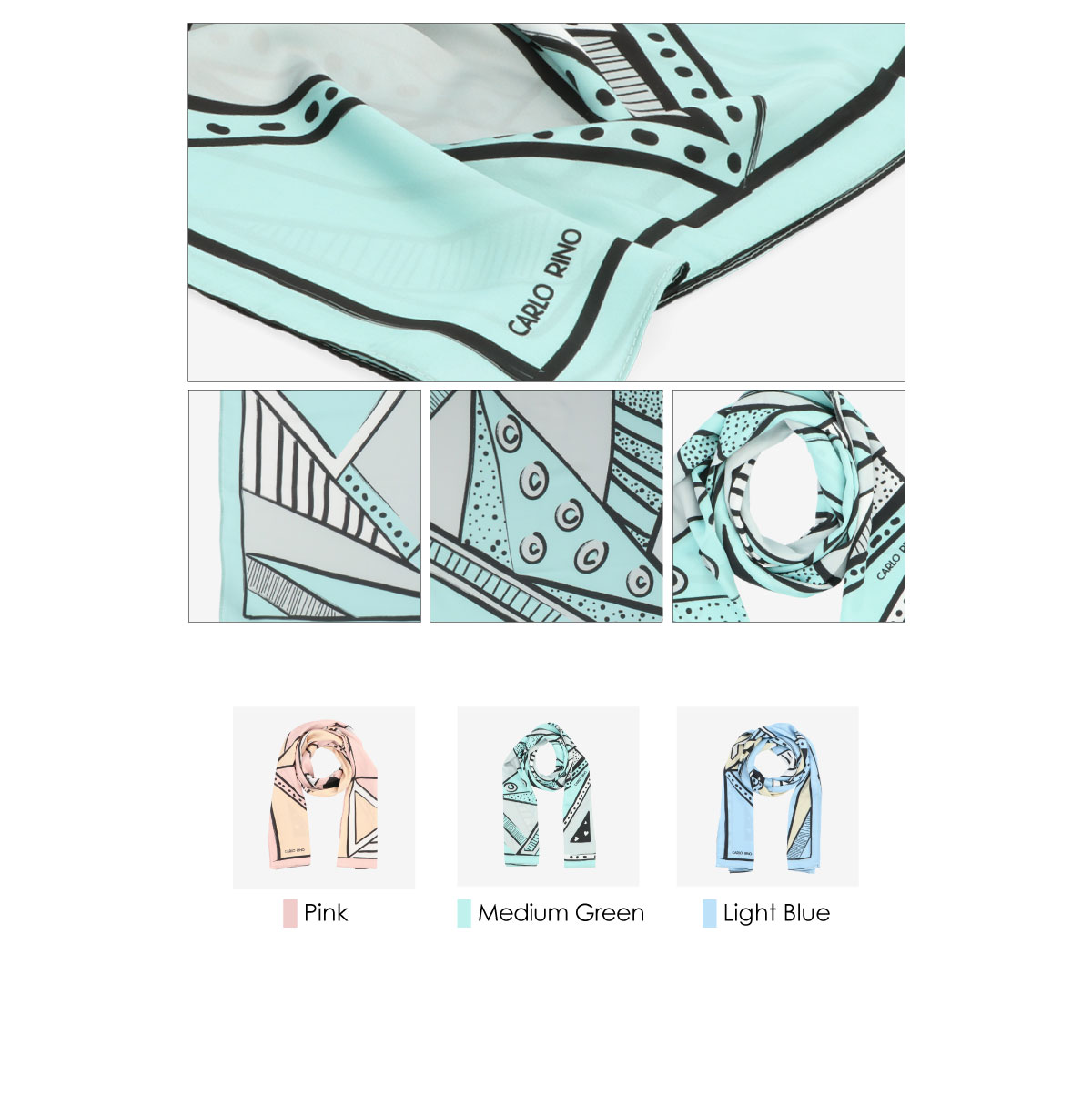 31S01 G001 3 - All About Angles Geometric Long Satin Chiffon Scarf