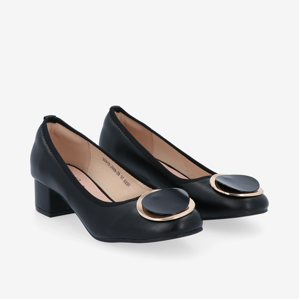 "carlorino shoe 33310 J009 08 1 - 1 1/2"" Button Top Round Toe Pump"