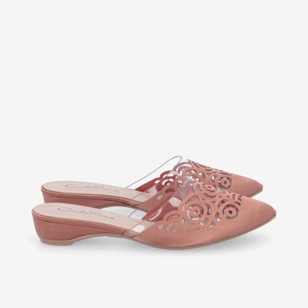 "carlorino shoe 33380 J004 24 2 - 2"" Thru Roses Slip On Sandal"