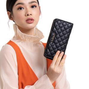 Black In Love with Quilt Zip wallet