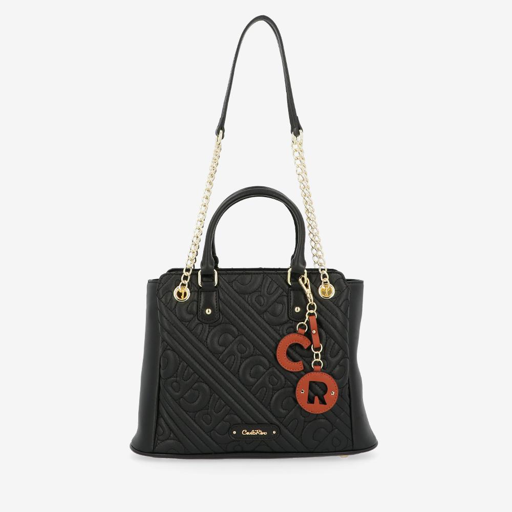 carlorino bag 0305135J 002 08 1 - Dangerously Black Top Handle