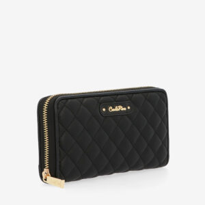 carlorino wallet 0304323A 502 08 3 - Black In Love with Quilt Chain Link Zip wallet