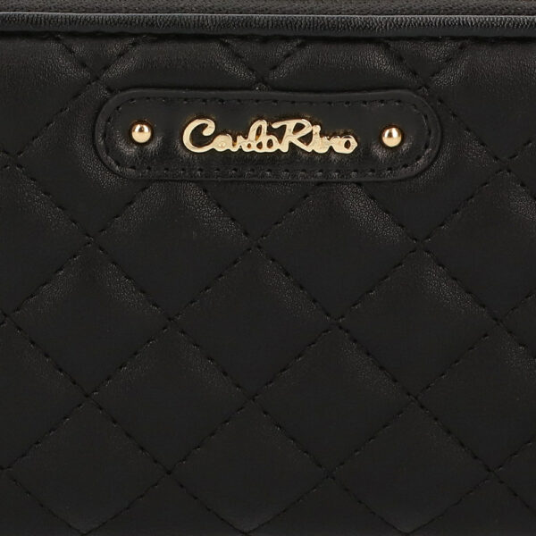 carlorino wallet 0304323A 502 08 5 - Black In Love with Quilt Chain Link Zip wallet