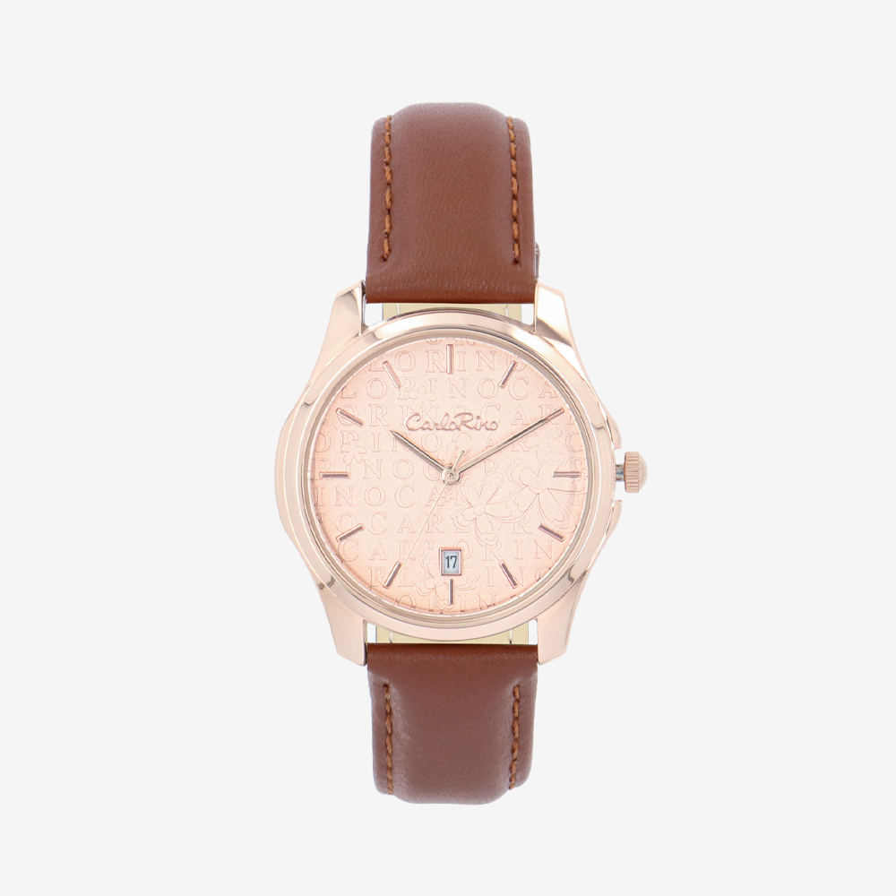 carlorino watch A93302 J005 15 1 - Timeless Essential Learther Strap Timepiece