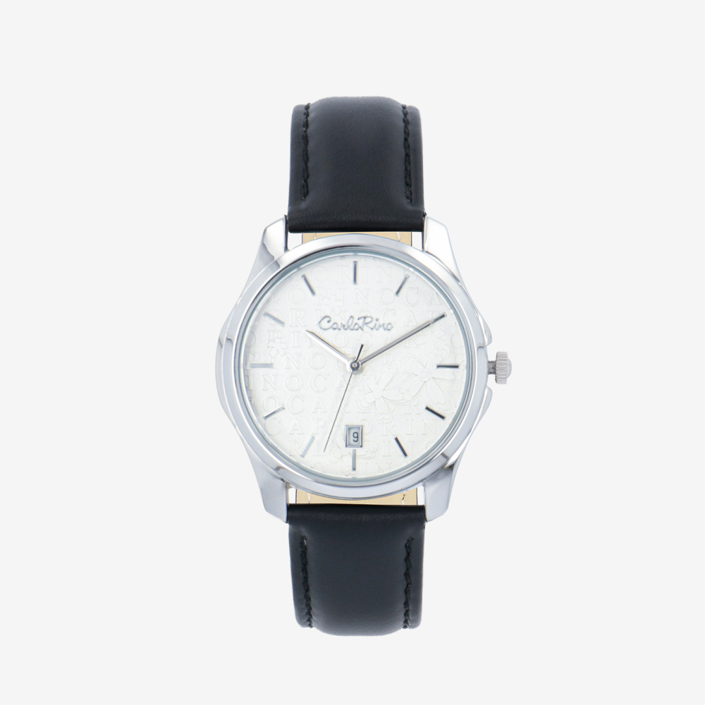 carlorino watch A93302 J006 08 1 - Timeless Essential Learther Strap Timepiece