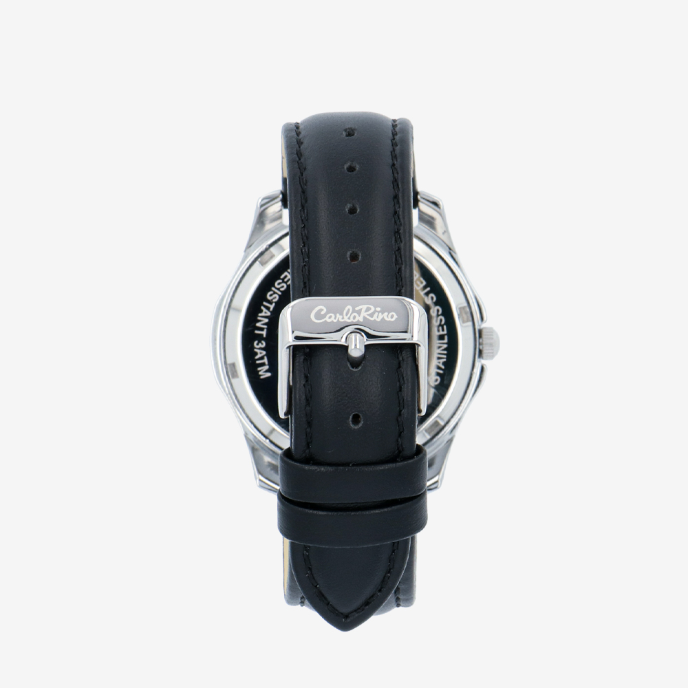 carlorino watch A93302 J006 08 3 - Timeless Essential Learther Strap Timepiece