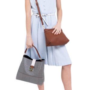 Oxford Houndstooth Print Shoulder Bag