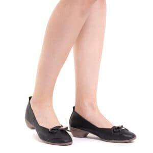 Artisinal Bow Low Heel Ballerina Pumps
