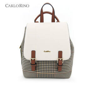 Oxford Houndstooth Print Backpack