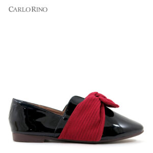 Glossy Loafers with Textured Ribbon Knot