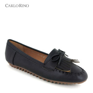 Stitch Design Vamp Loafers with Ribbon