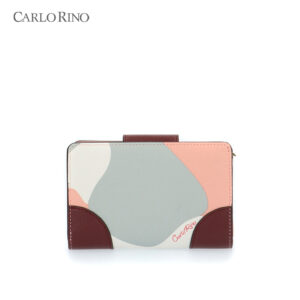 Maroon Posh in Pink Short Wallet with Snap Fastener